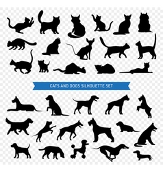 Dogs And Cats Black Silhouette Set vector image