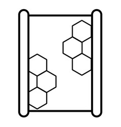 honeycomb on wood icon outline style vector image