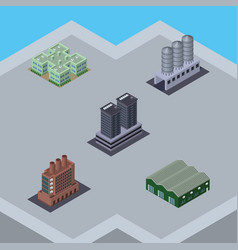 isometric architecture set of tower industry vector image
