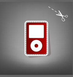 portable music device red icon with for vector image vector image