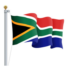 waving south africa flag isolated on a white vector image