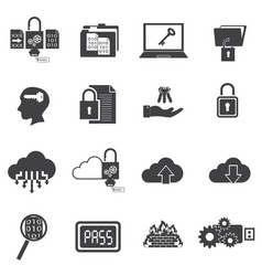big data icons set computer security vector image vector image