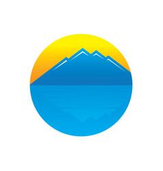 circle mountain sunset logo vector image vector image