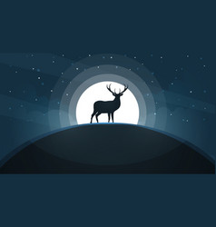 deer on the hill - cartoon landscape vector image