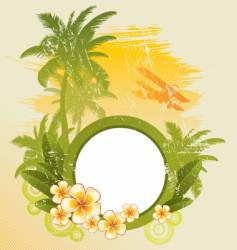 round frame on tropical theme vector image vector image