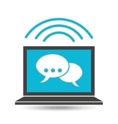 social media laptop bubble speech vector image