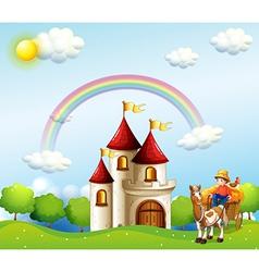 A farm boy above the hills near a castle vector image vector image
