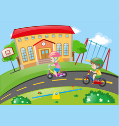 boy and girl riding bike in the park vector image vector image