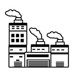 building industry factory chimney outline vector image