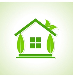 Eco home icon with leaf vector image