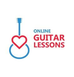 Heart guitar logo or icon vector image