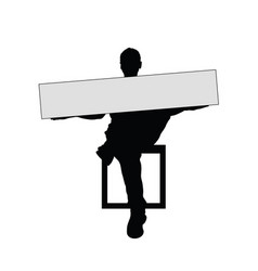 man silhouette sitting with card vector image vector image