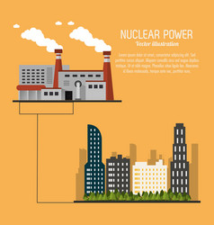 Nuclear plant power city urban trees icon vector