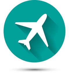 Plane icon on green background with shadow vector image