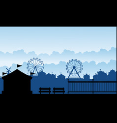 silhouette carnival funfair with amusement scenery vector image