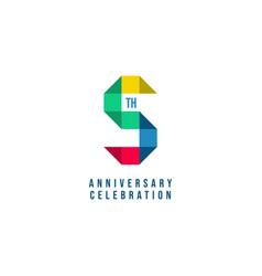 5 th anniversary celebration template design vector