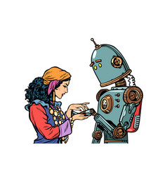 A gypsy telling fortunes by the hand the robot vector