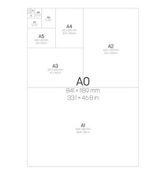 A series paper sizes with labels and dimensions vector