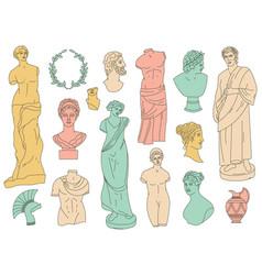ancient greek gods antique statues and antique vector image
