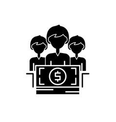 Annual bonus black icon sign on isolated vector