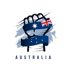 australia hand and flag template design vector image