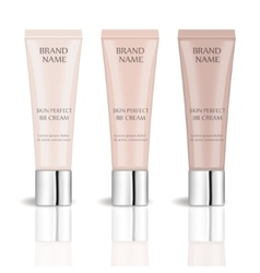 BB cream realistic package set with different vector image