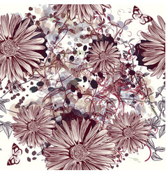 beautiful seamless pattern with hand drawn flower vector image