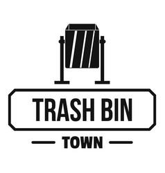 bin trash town logo simple black style vector image