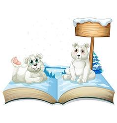 Book of two polar bears on snow vector