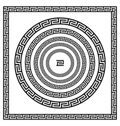 Border greek Round frame with a meander black and vector