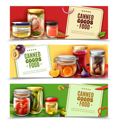 Canned goods horizontal banners vector