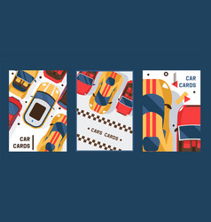 car cards set banners vector image