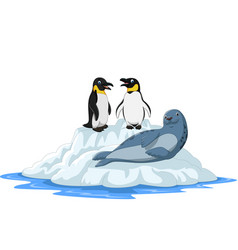 cartoon arctics animals on ice floe vector image