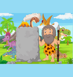 cartoon caveman holding stone sign in forest vector image