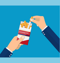 Cigarettes in hand man vector