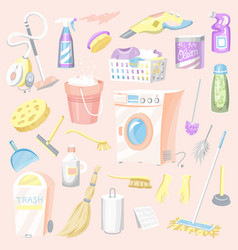 cleaning tools set house icons washing machine vector image