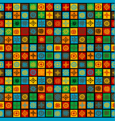 colorful background with ethnic symbols in squares vector image