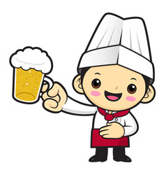 cook character is holding the finest beer vector image