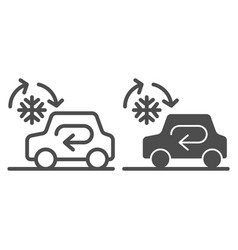 cooling car system line and glyph icon auto air vector image