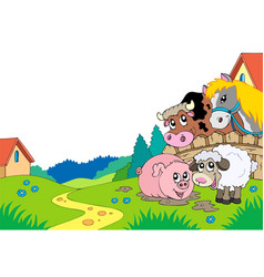 Country landscape with farm animals vector
