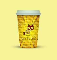 Creative pixel paper cup with owl in pixel style vector