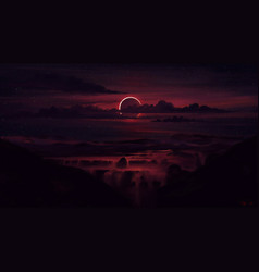 Dark solar eclipse wallpaper vector
