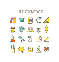 different knowledge thin line color icons set vector image
