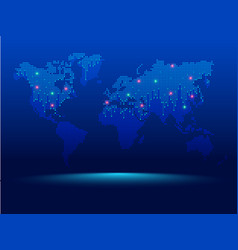 digital world map dotted world map in futuristic vector image