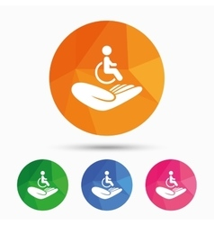 Disabled human insurance sign Wheelchair man vector image