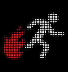 fired running man halftone icon vector image