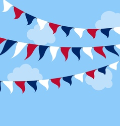 Flags usa set bunting red white blue for vector