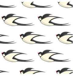 Flying swallows seamless pattern on white vector
