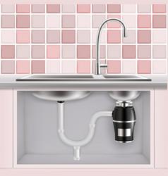 food waste disposer under kitchen sink vector image