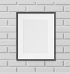 Frame for picture photo on brick wall realistic vector